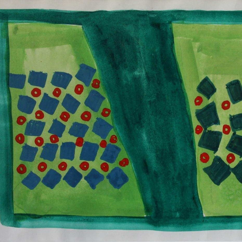 Anthony Benjamin - Untitled Abstract in Greens, Red and Blue