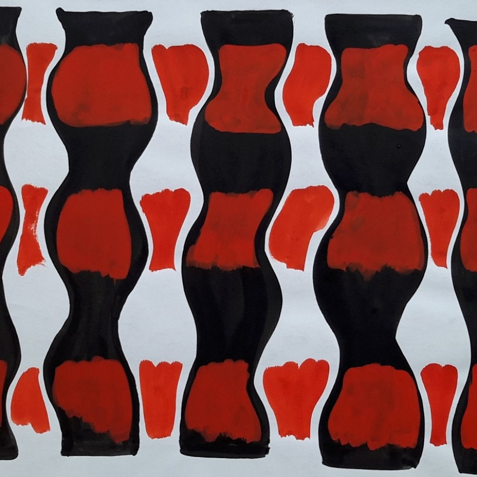 Anthony Benjamin - Untitled Abstract in black and red