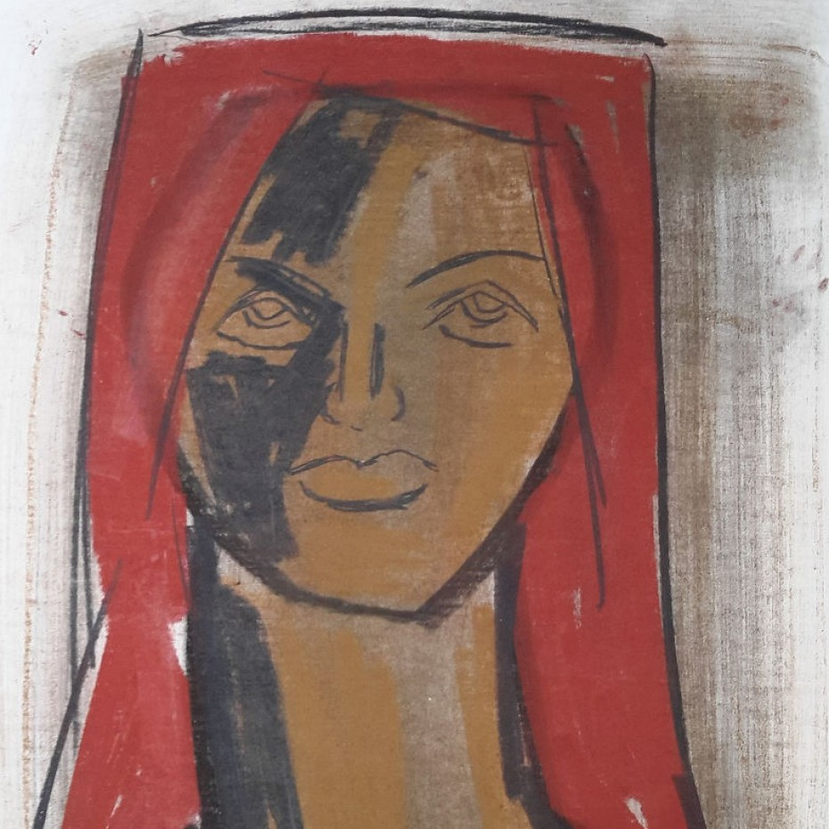 Charles Gassner - African Woman with a Red Headscarf
