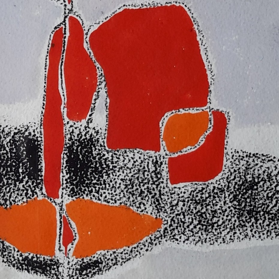 Helen Hale - Abstract in grey, black and reds