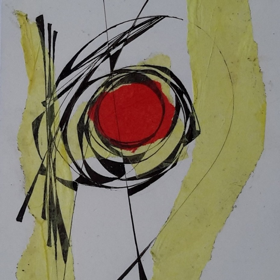 Helen Hale - Abstract in yellow, black and red