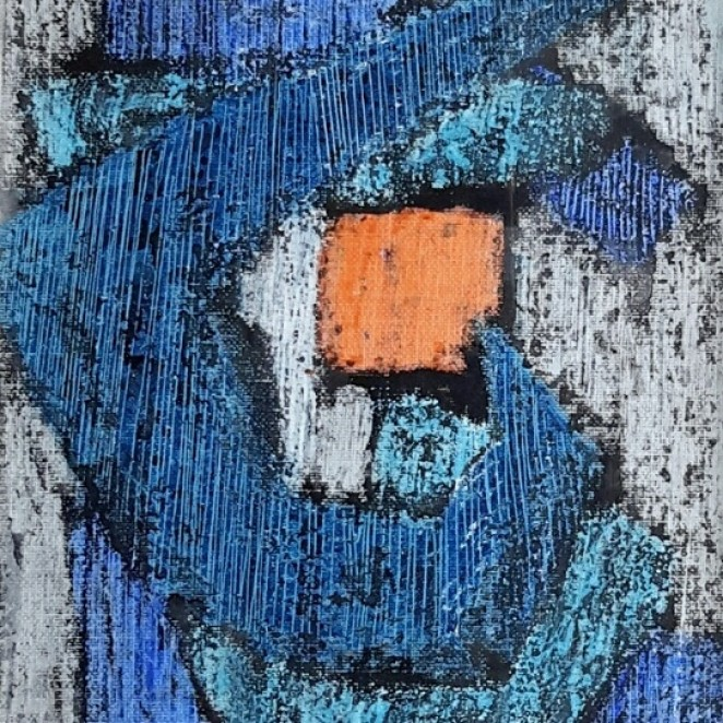 Helen Hale - Abstract with Orange, Blues and Grey