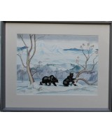 John Leigh-Pemberton - Two Black Bears in the Mountains