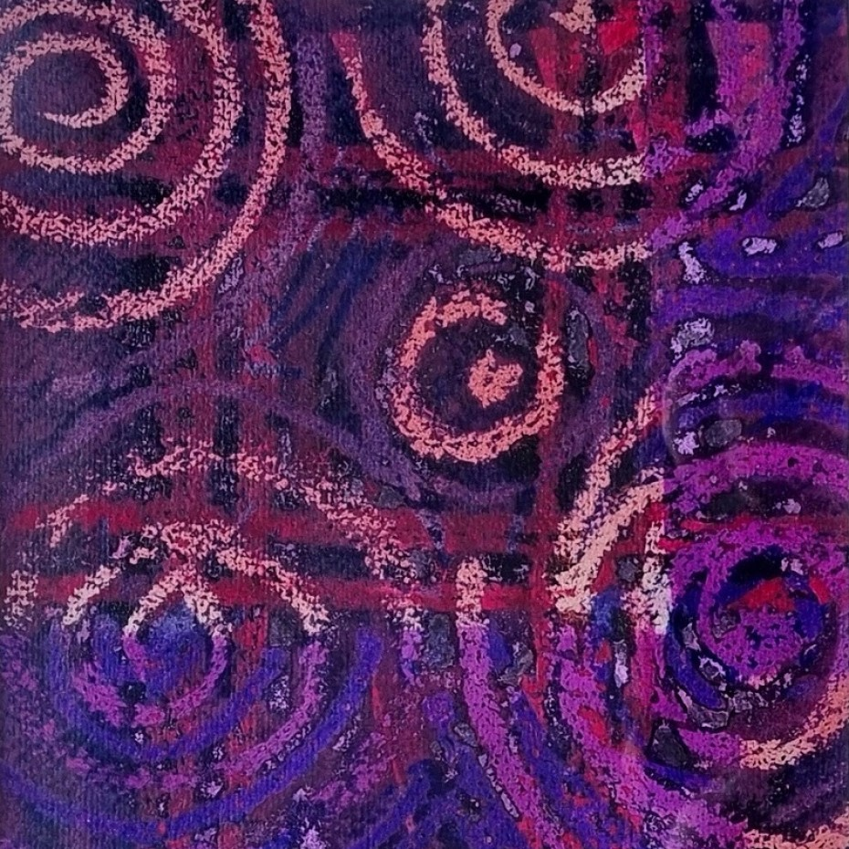 Peter Coker - Spiral in brown, red and purple